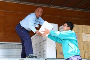 熊本地震義援物資出発式(4月19日)